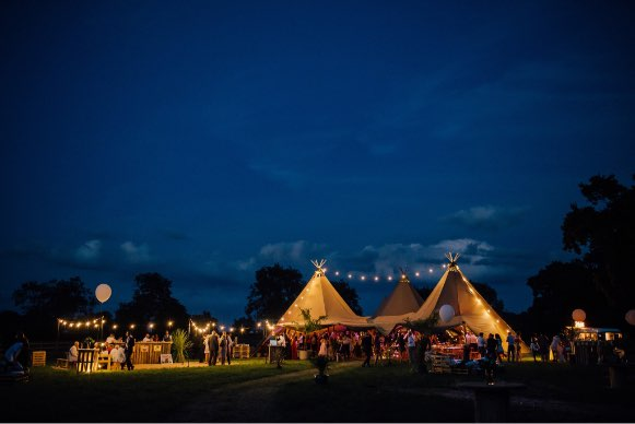 tipi event at night