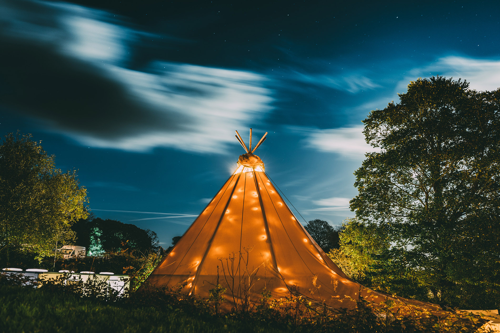 tipi exterior with lighting
