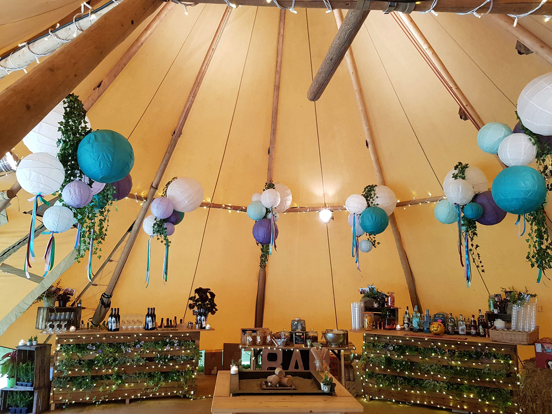 Interior of tipi with bar units