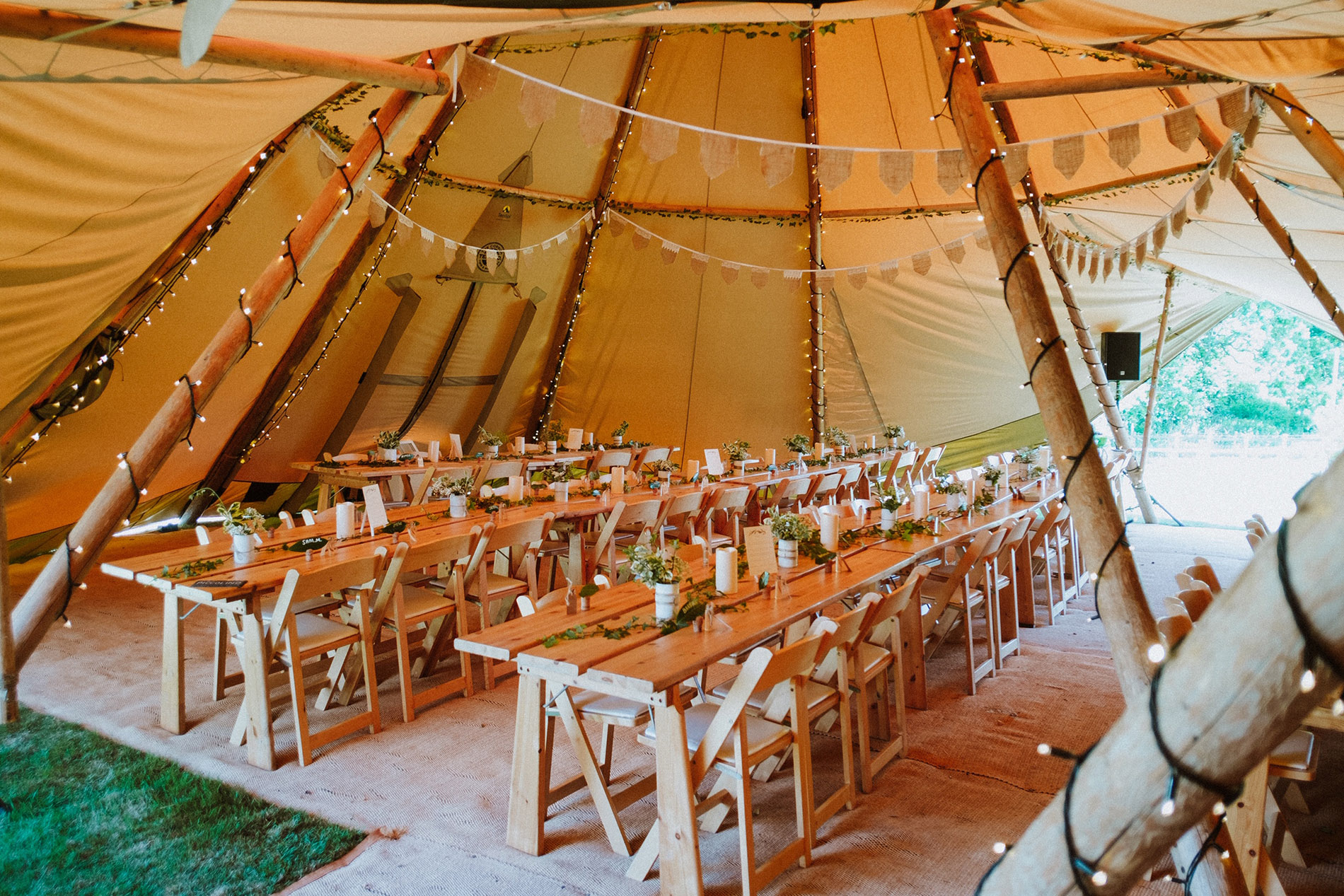 Tipi interior with seating