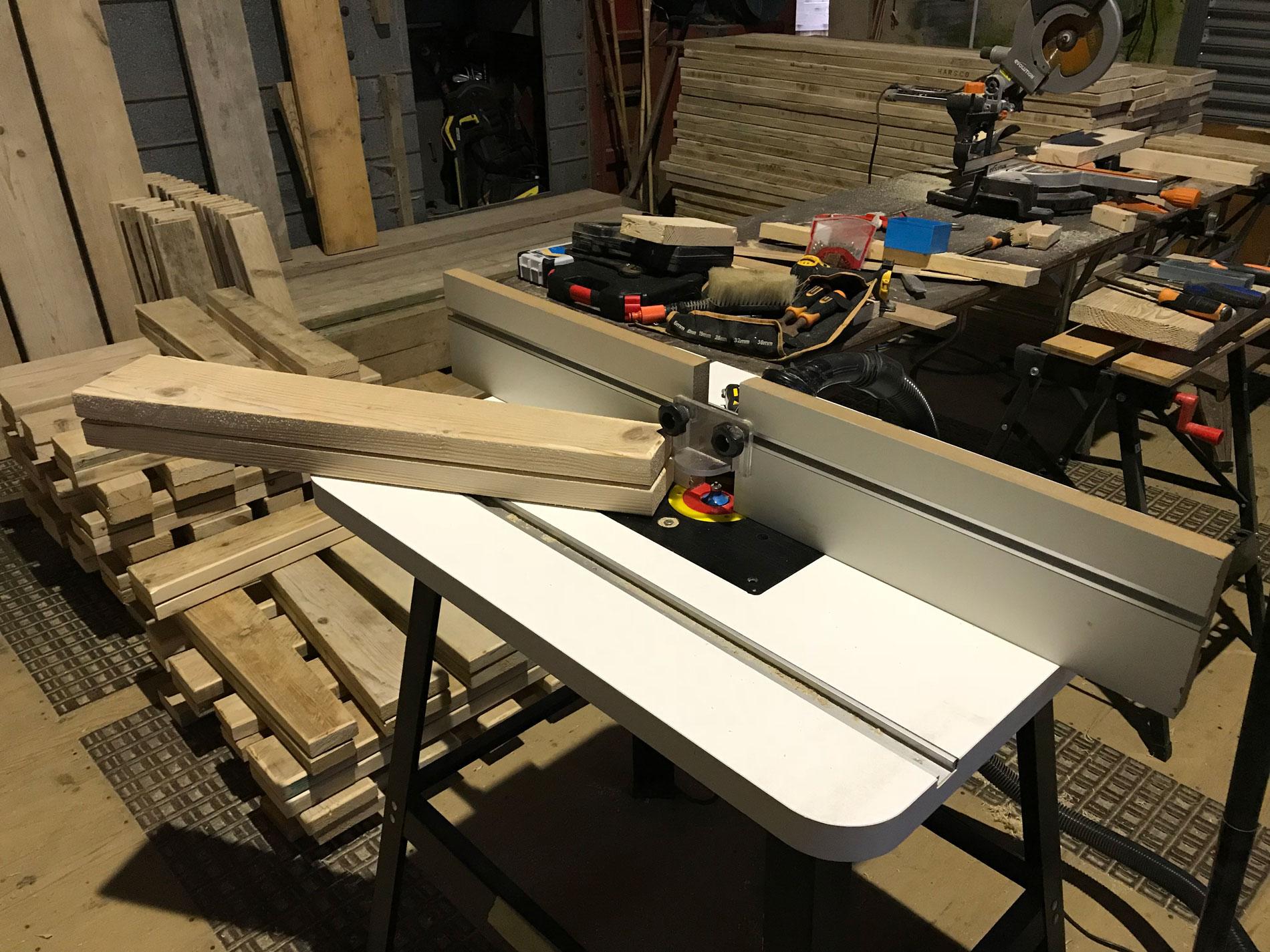 wood being cut
