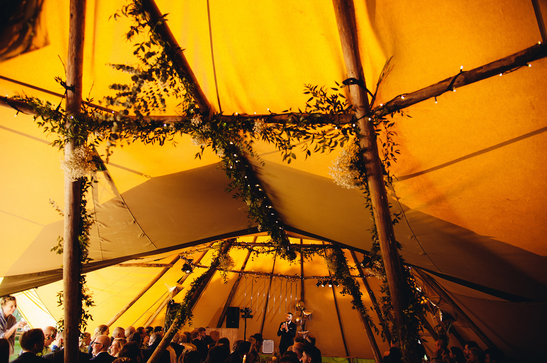 tipi with floral decoration