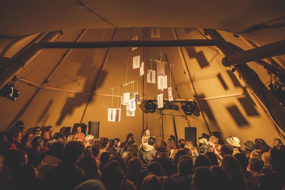 festival gig inside tipi