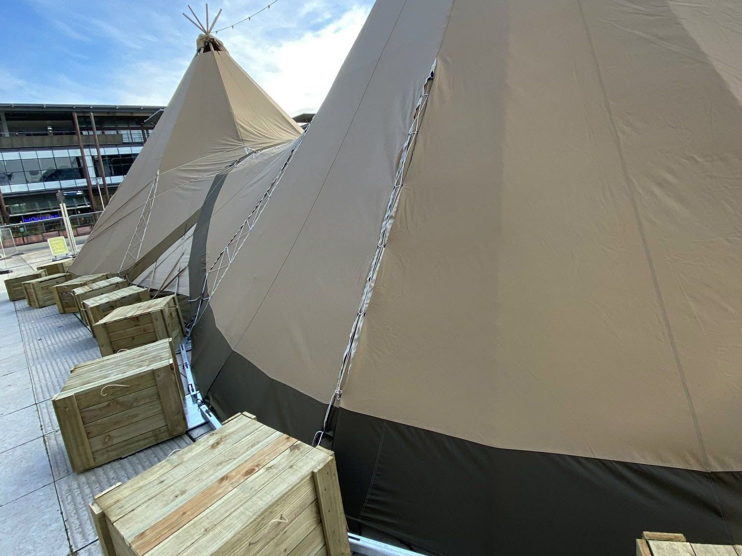 giant tipis in a town centre