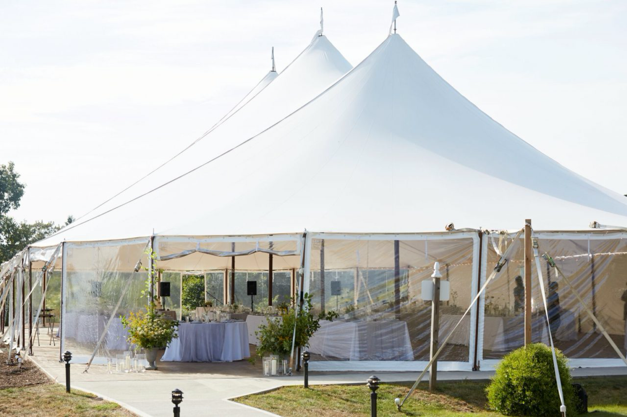 sailcloth tent interior with tables